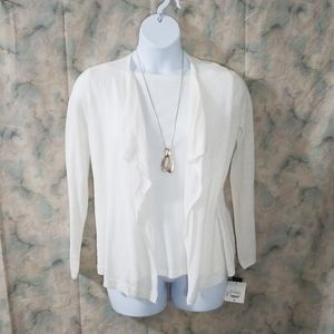 NWT Liz Claiborne white collection ruffle cardigan
